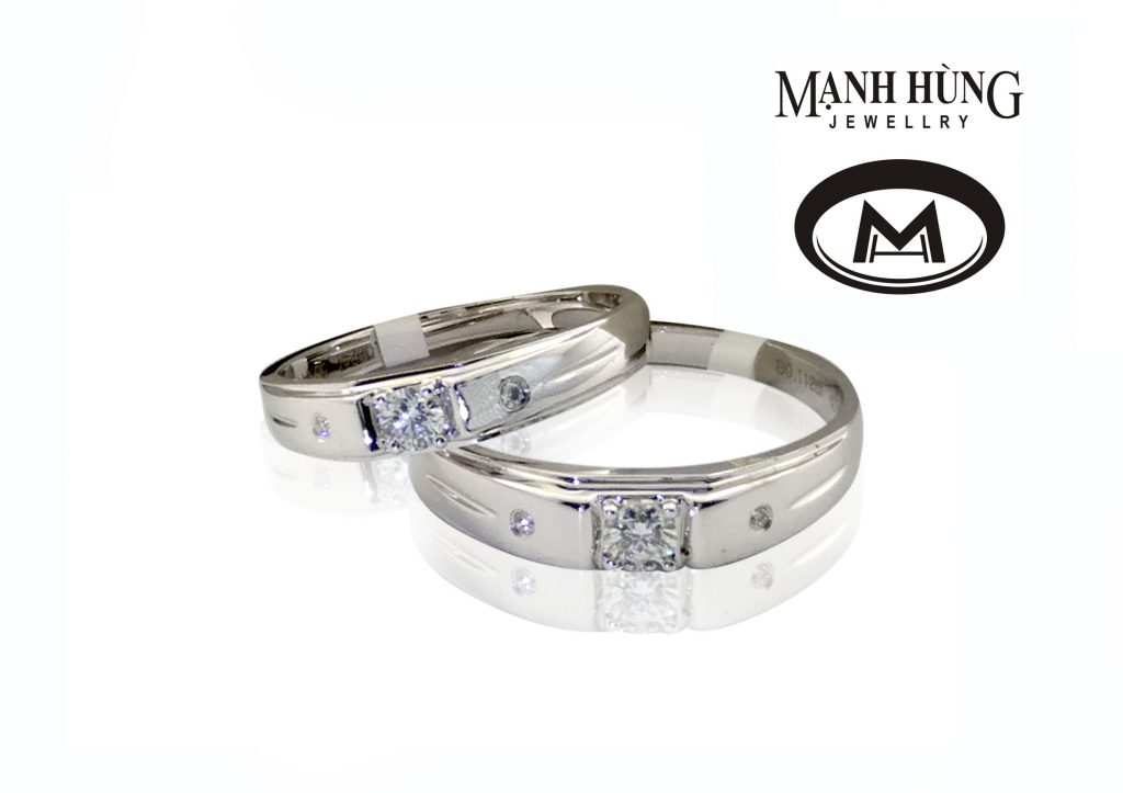 Vàng trắng là chất liệu được ưa thích trong dòng nhẫn cưới kim cương