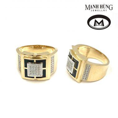 Nhẫn nam vàng Ý đính đá