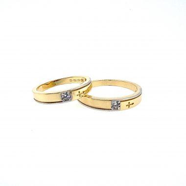 Nhẫn cưới vàng Ý đính đá